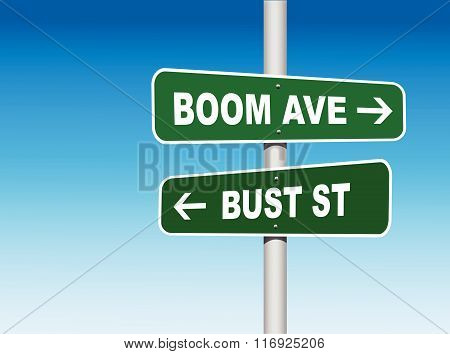 Boom Avenue Bust Street Road Signs (Vector)