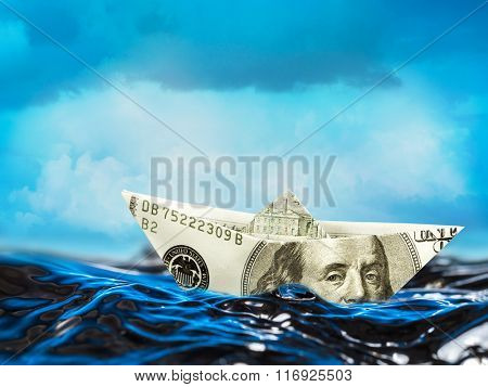 100 dollar paper boat floating on stormy waves