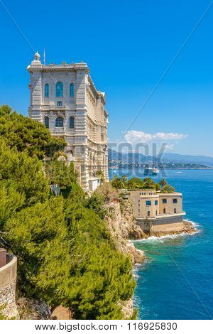 Side of Oceanographic Institute museum in Principality of Monaco