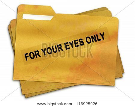 For Your Eyes Only Old File Folder Isolated on White Background