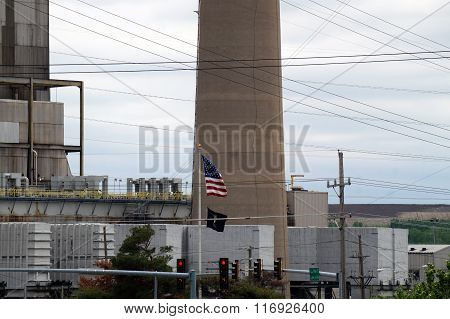 Flags in Front of Joliet 7&8 Coal-Fired Power Generating Station