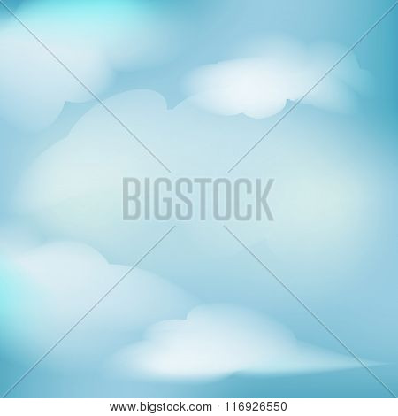 Illustration Clear Blue Sky With Clouds Vector Abstract Background