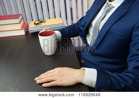 Man Working In Office, Computer And Coffee