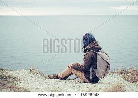 Hiker Woman Looking At Sea