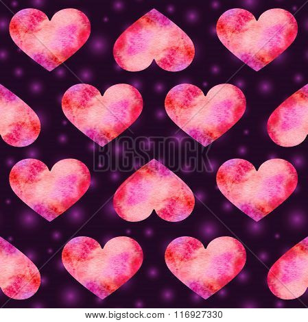 Artistic Valentine's Day Background With Painted Watercolor Hearts And Blurred Purple Lights
