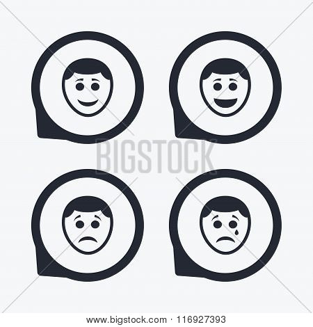 Human smile face icons. Happy, sad, cry.