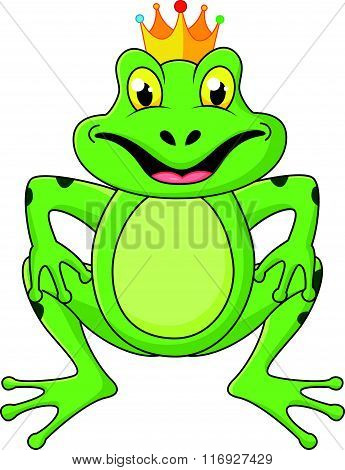 vector illustration of Prince frog cartoon isolated on white