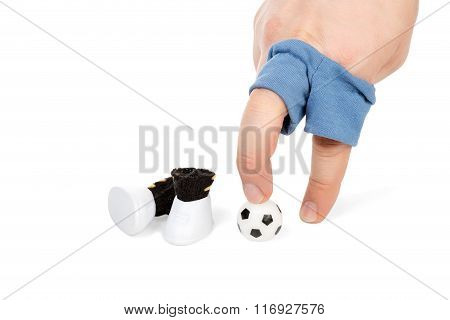 Imitation Of A Football Player Fingers
