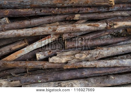 Many Stacked Raw Woods For Construction