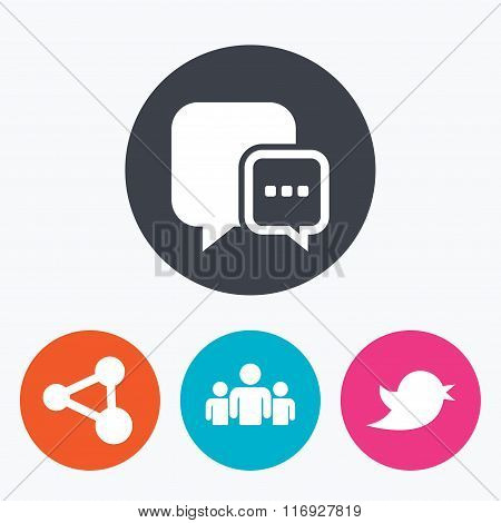 Social media icons. Chat speech bubble and Bird