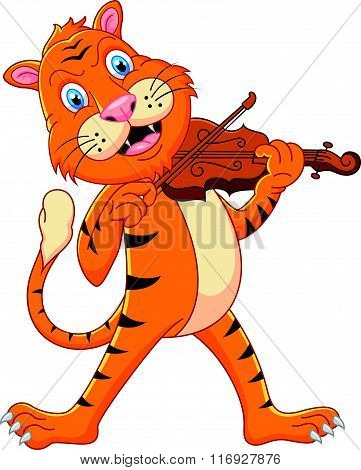 vector illustration of Tiger playing his violin