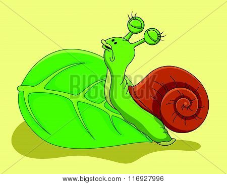vector illustration of Snail cartoon crawling on leaf