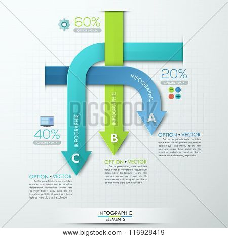 Modern business rounded arrows paper style options banner