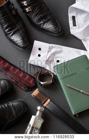 Men's Clothing Along With Several Accessories