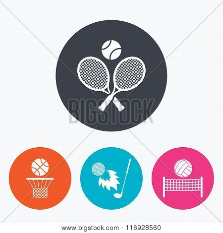 Tennis rackets with ball. Basketball basket.