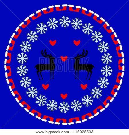 Winter circular pattern; snowflakes; deer; new Year;