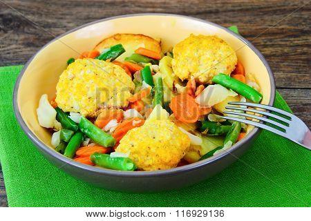 Steamed Vegetables Potatoes, Carrots, Corn, Green Beans, Onion a