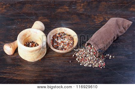 Spices In A Sack, Bulk Spices In A Porcelain Cup, A Spoon, A Wooden Table.