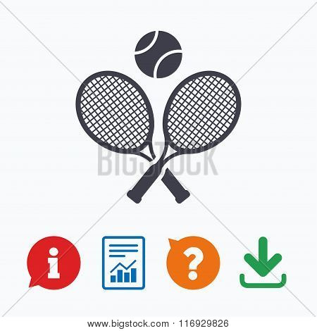 Tennis rackets with ball sign icon. Sport symbol