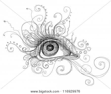 Eye attractive girl with decorative elements. Linear vector black and white illustration