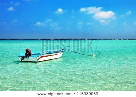 Shoreline Of A Tropical Island With Boat In The Maldives And View Of The Indian Ocean.