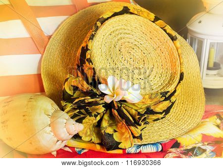 Flower Frangipani On Lady Hat With Summer Vacation Decoration
