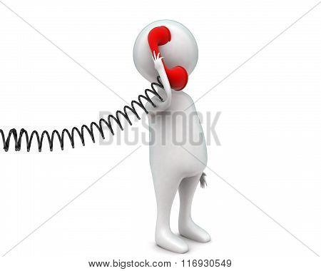 3D Man Holding Telephone  Having Conversation Concept