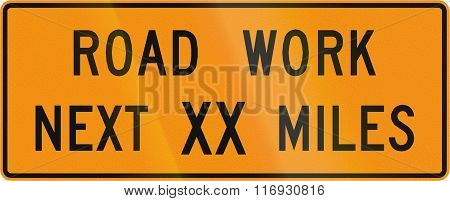 Road Sign Used In The Us State Of Virginia - Road Work Next Xx Miles