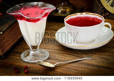 Sweet Tasty Pomegranate Jelly with Tea