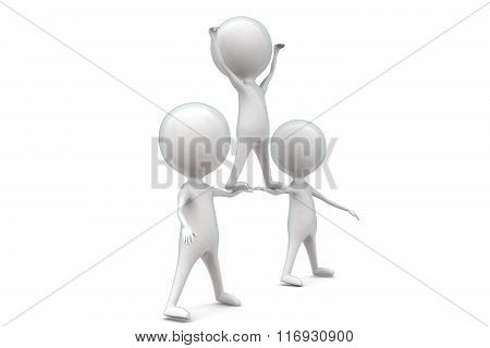 3D Man Standing Higher With The Help Of Others Concept