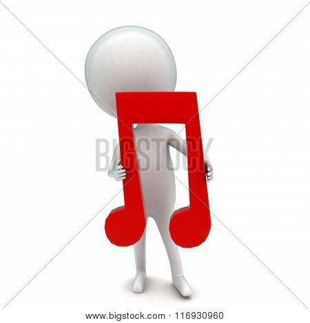 3D Man Holding Musicalnote In Hand Concept