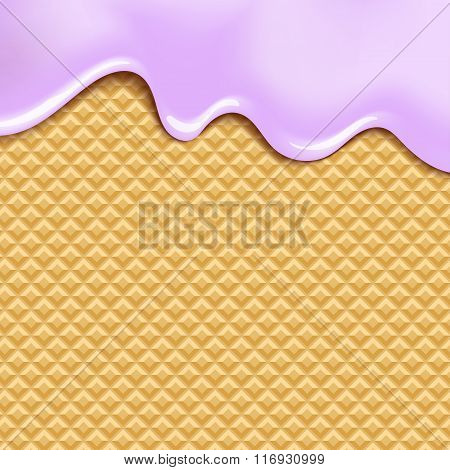 Wafer and flowing white chocolate, cream or yogurt - background.