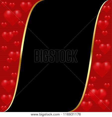 Maroon And Black Background With A Gold Stripe And Hearts