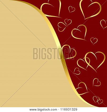 Maroon And Gold Background With Hearts