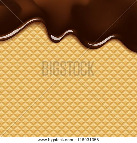 background with melting chocolate on wafer