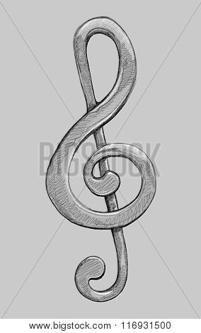 G clef - vector black and white illustration