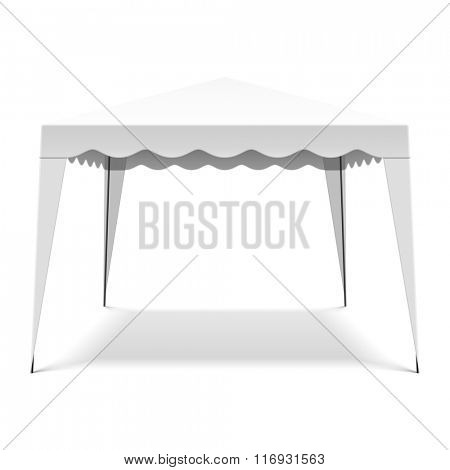 White pop up gazebo, canopy, folding tent. Vector.