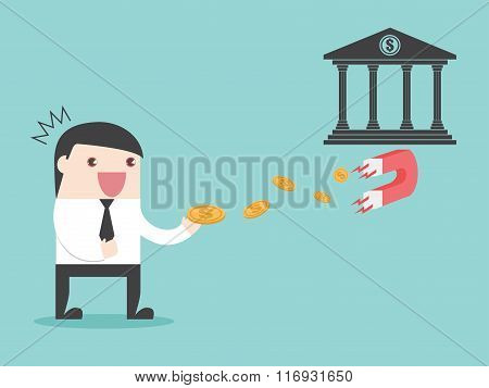 Bank Magnet Businessman Money