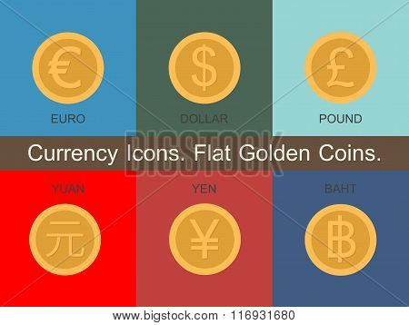 Currency Icons Flat Golden Coins
