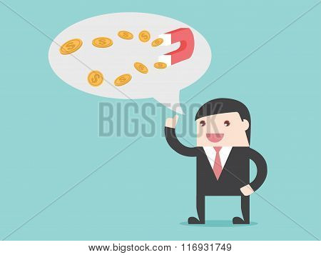 Magnet Money Businessman Idea