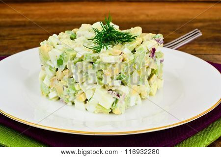 Salad with Avocado, Boiled Eggs, Red Onion and Mayonnaise