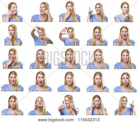 Attractive woman with different gestures and emotions.