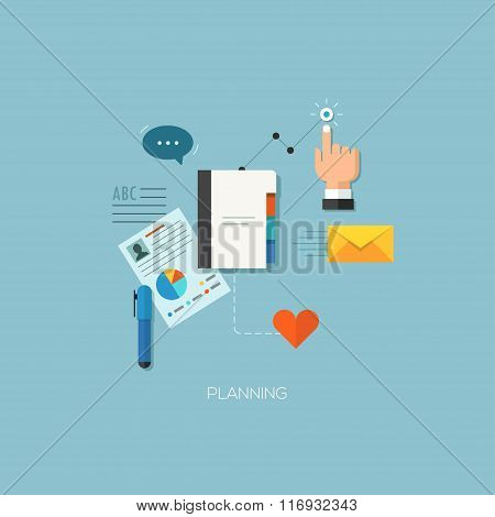 Startup launching process flat web infographic technology online service application internet busine