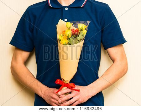 Man Holding Bouquet Of Yellow And Orange Roses. Women' S Day, Valentines Day, Mothers Day.
