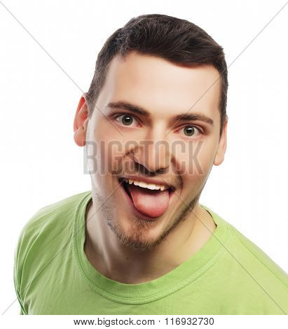 happy young man in green t-shirt