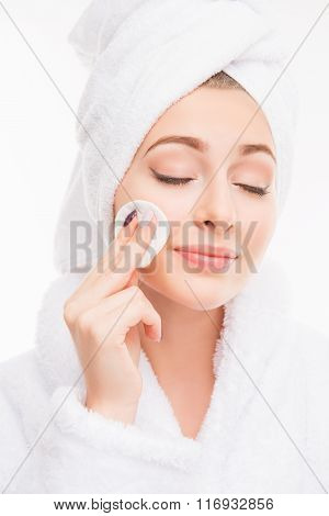 Pretty Girl With Towel On Her Head Wash Off Makeup Wiht Closed Eyes, Close Up Photo