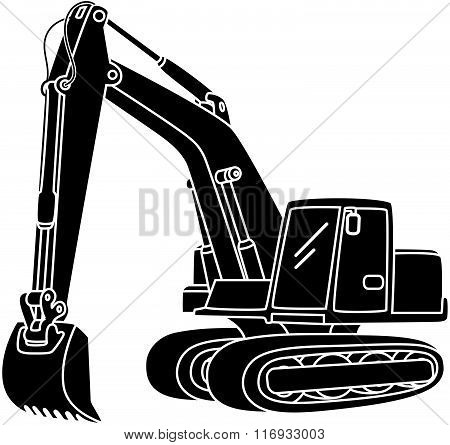 vector illustration of Excavator icon isolated on white