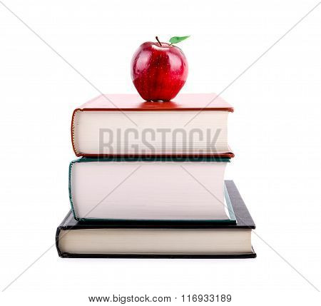 Education Concept: Apple On Stack Of Books