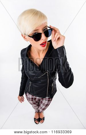 Sexy Woman With Red Lips Holding Her Glasses