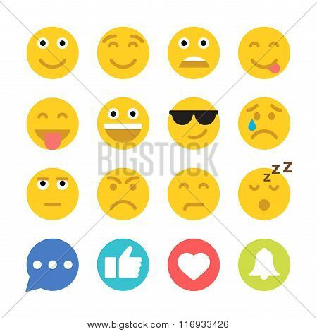 Set of Emoticons and Social Network Icons. Flat style illustrations